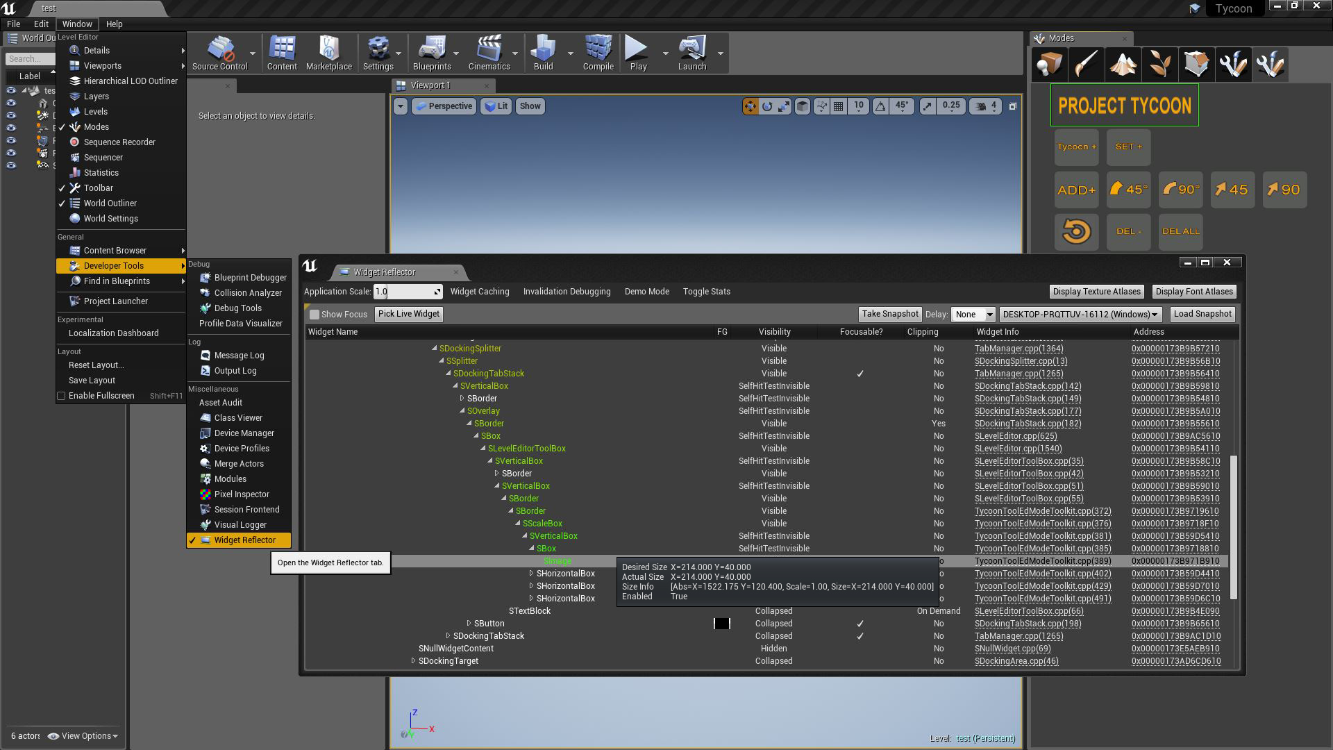 Tycoon C++ UI Slate update · 3Ducttapes()